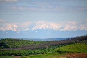 Vârful Suru din Masivul Făgăraş văzut de deasupra Comunei Cergăul Mare