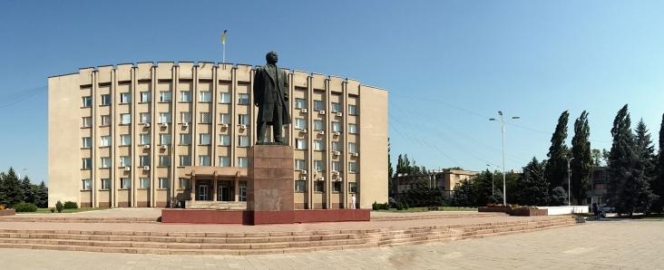 Lenin în fața primăriei din Ismail